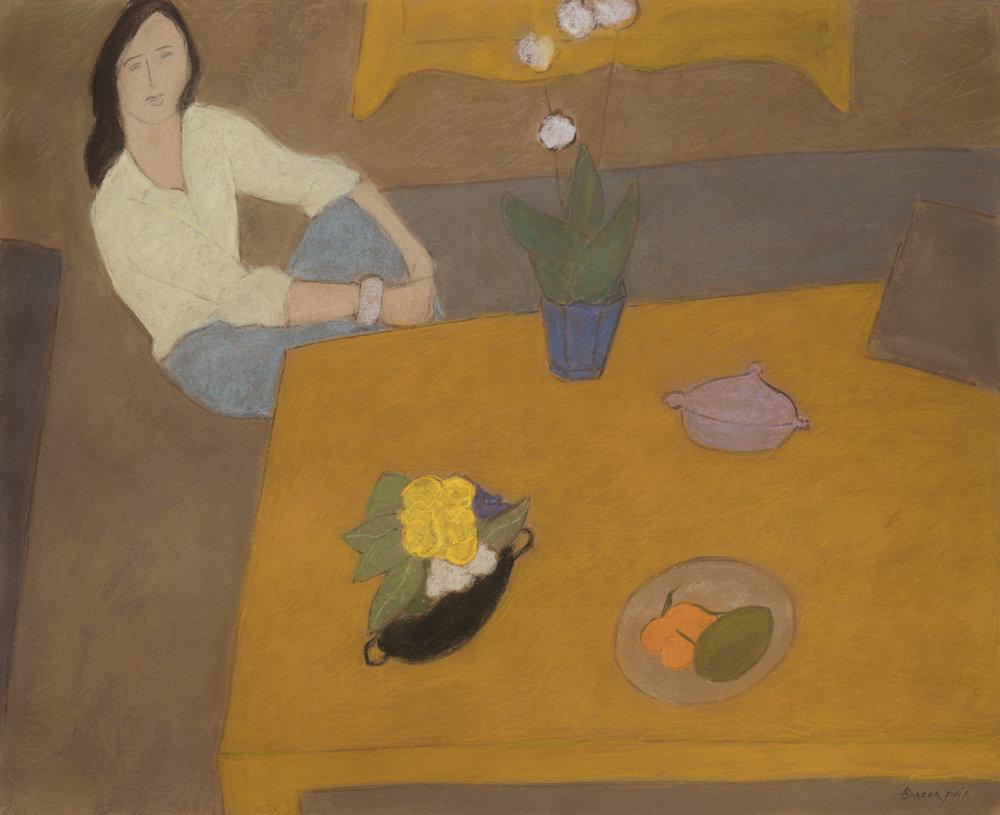 Intérieur à la table basse, pastel on paper, 31.5 x 38 in