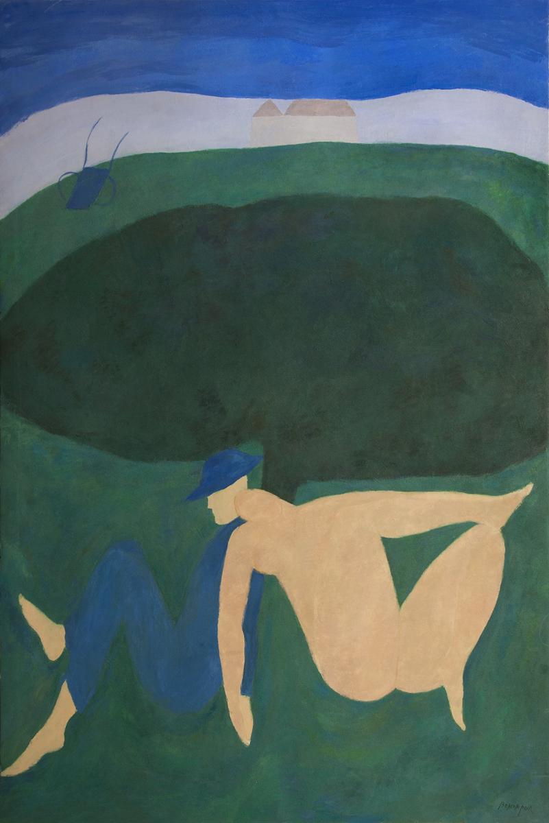 Le rendez-vous sous l'arbre, oil on canvas, 76 x 51 in.