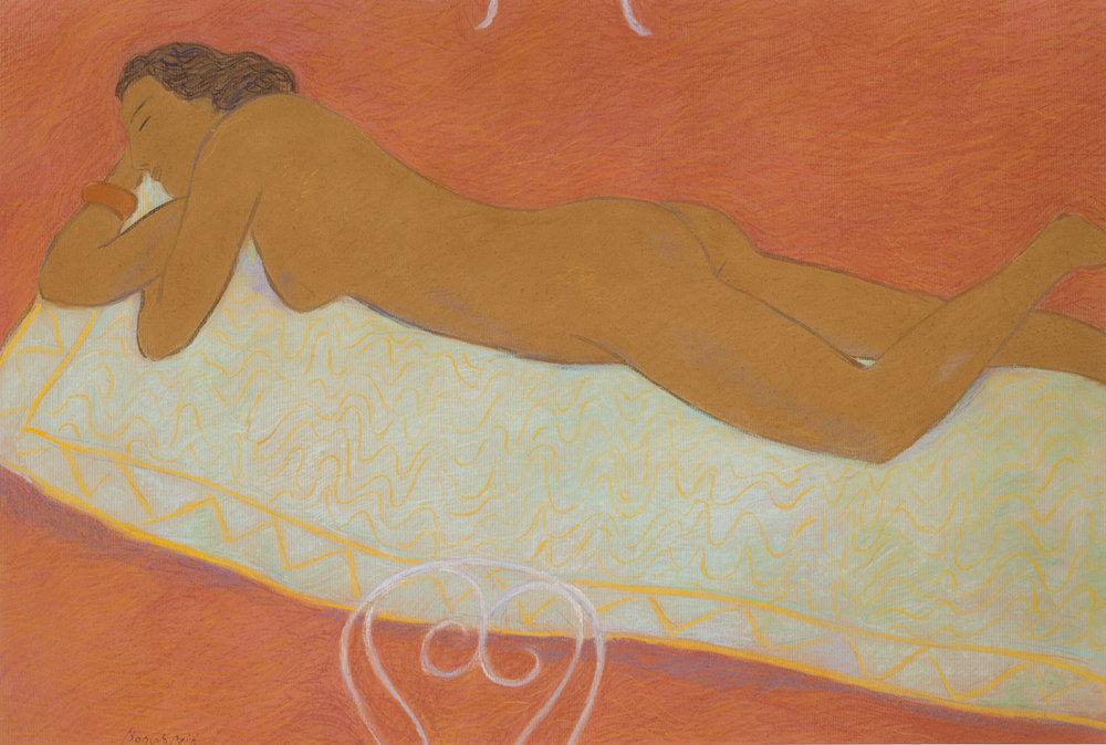 Bain de soleil, pastel on paper, 27 x 39 in