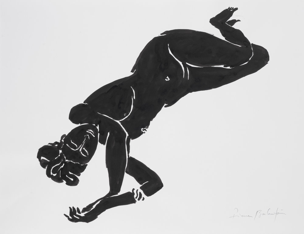 Nu, 7, Indian ink on paper, 19.5 x25 in, 50 x 64 cm