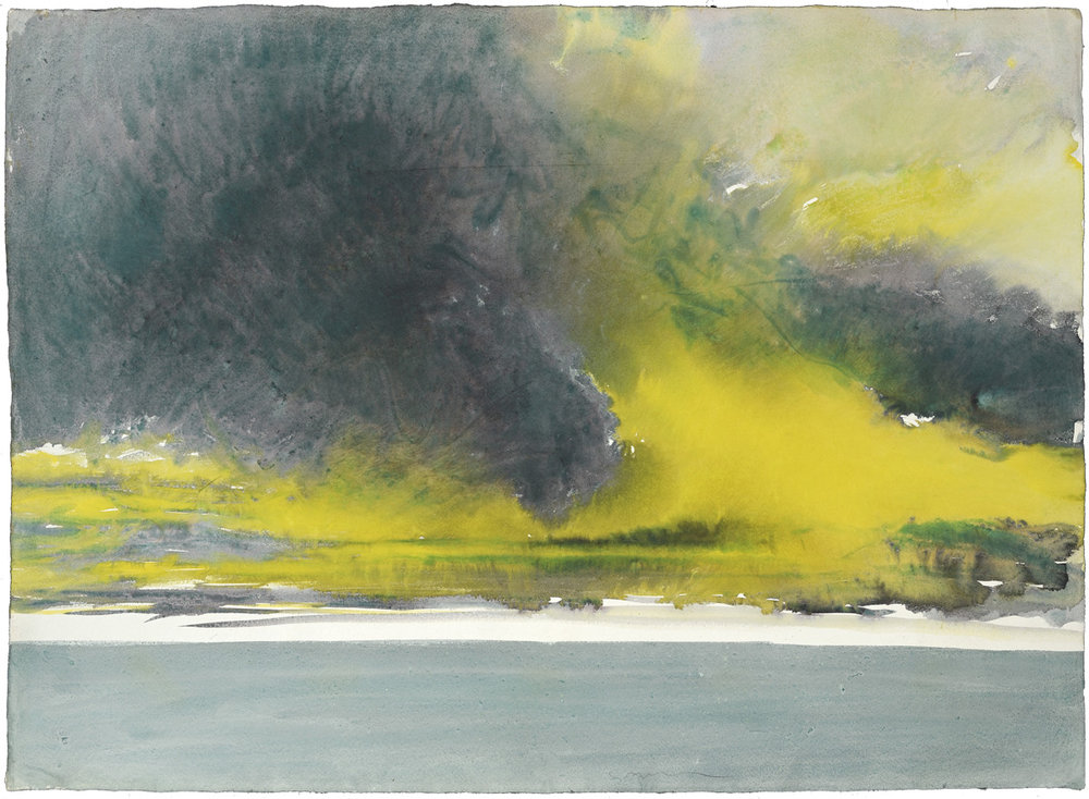 Yellow-purple Sky, watercolor, 56 x 79 cm, 22 x 31 in, 1973