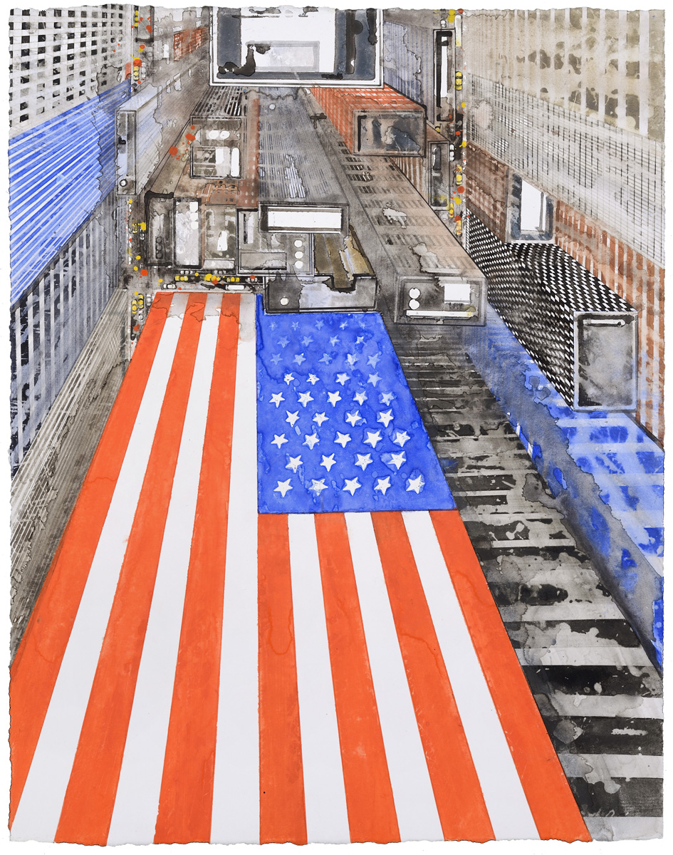 US Flag I, watercolor, 61 x 47 cm, 24 x 18.5 in, 2015