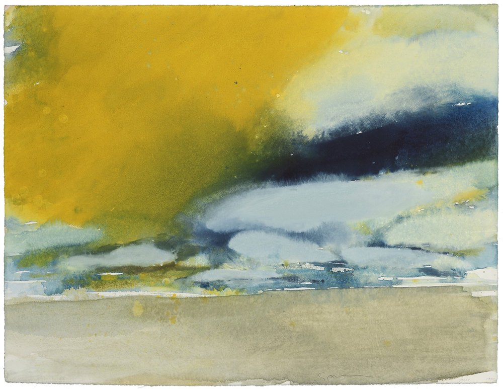 White and Yellow Clouds, watercolor, 46 x 61 cm, 18 x 24 in, 1972