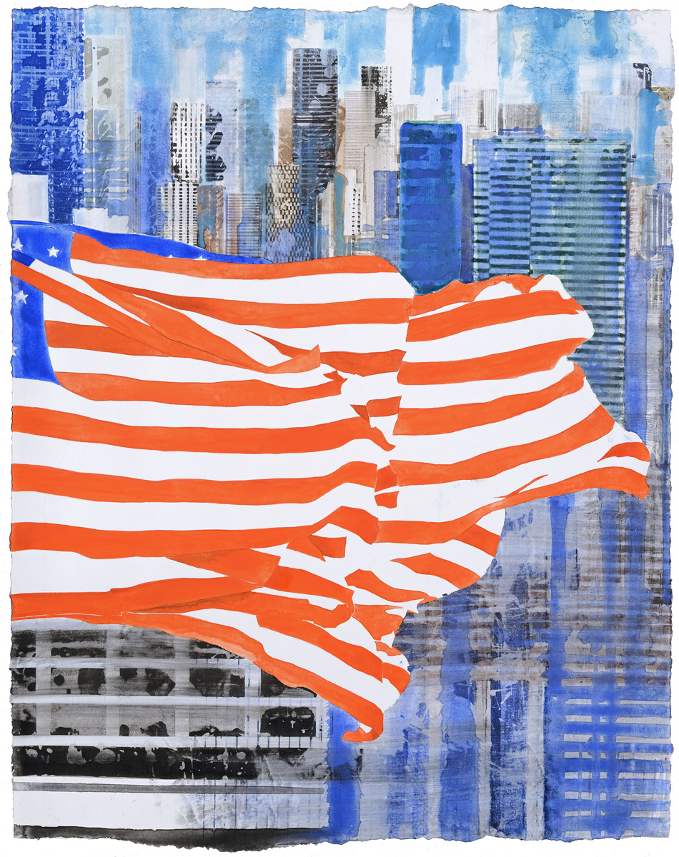 US Flag II, watercolor, 61 x 48 cm, 24 x 19 in, 2015