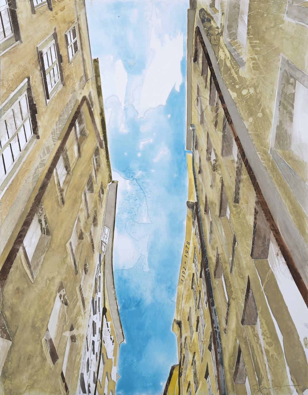 Hans Guck in die luft in Salzburg, watercolor, 65 x 51 cm, 25.5 x 20 in, 2016