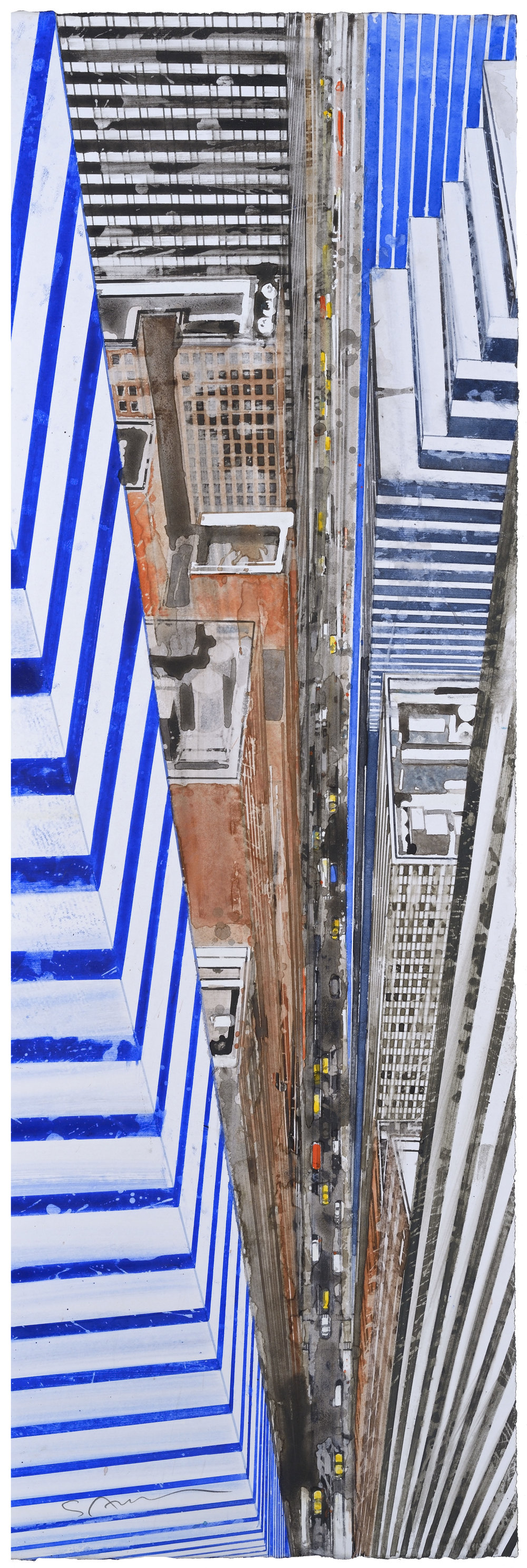 From Helicopter VI, watercolor, 64 x 20 cm, 25 x 8 in, 2016