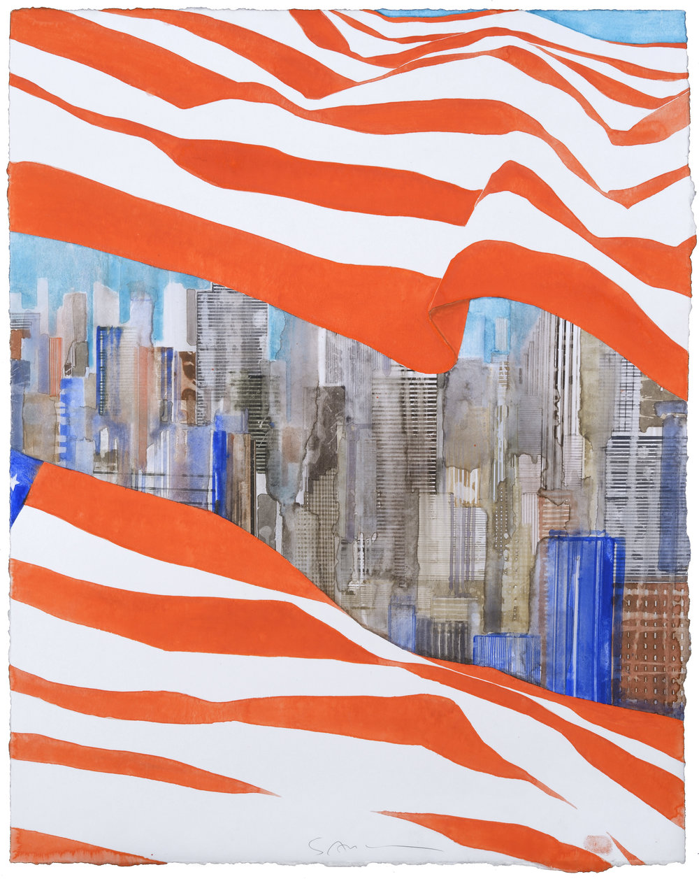 US Flag VIII, watercolor, 61 x 47 cm, 24 x 18.5 in, 2016
