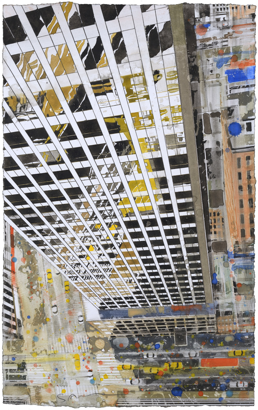 SOLD NY Reflection, watercolor, 48 x 30 cm, 19 x 12 in, 2015