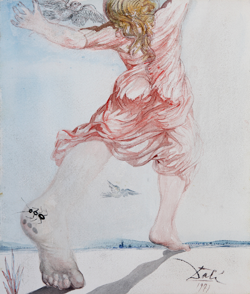 Young Girl's Song, 18 x 15 in, Watercolor, sanguine and brush and India ink, 1971