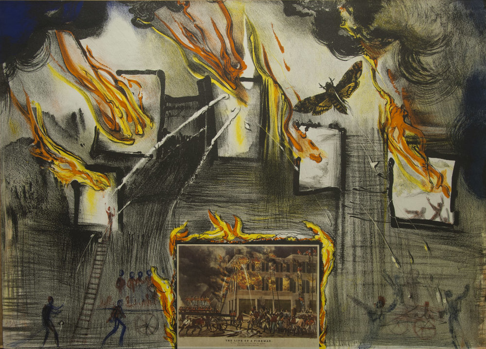 Currier & Ives: Fire, Fire, Fire, 22 x 25.5 in, Lithograph printed in colours with collage, 1971