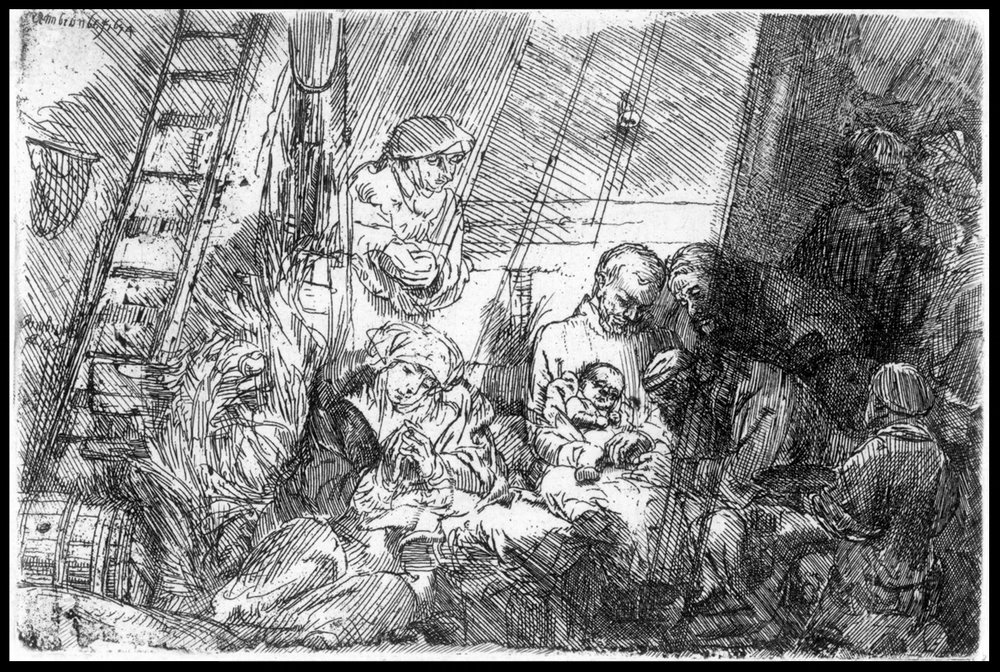 The Circumcision in the Stable, state ii/ii, Etching, 4.75 x 5.8 inches, 17th or 18th century, 1654