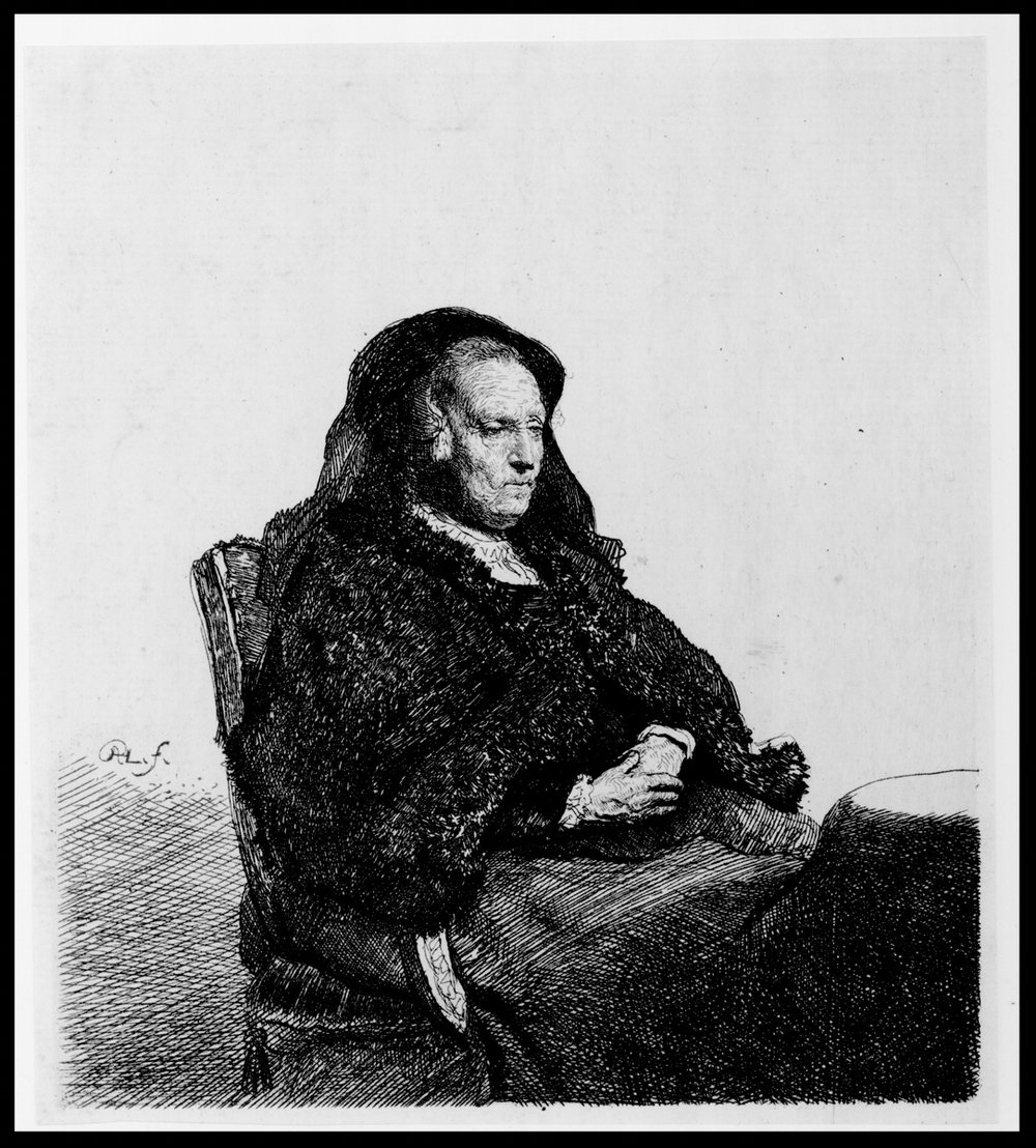 Artist's Mother Seated at a Table, Looking Right, state ii/iii, Etching, 6 x 5.25 inches, 18th century, 1631