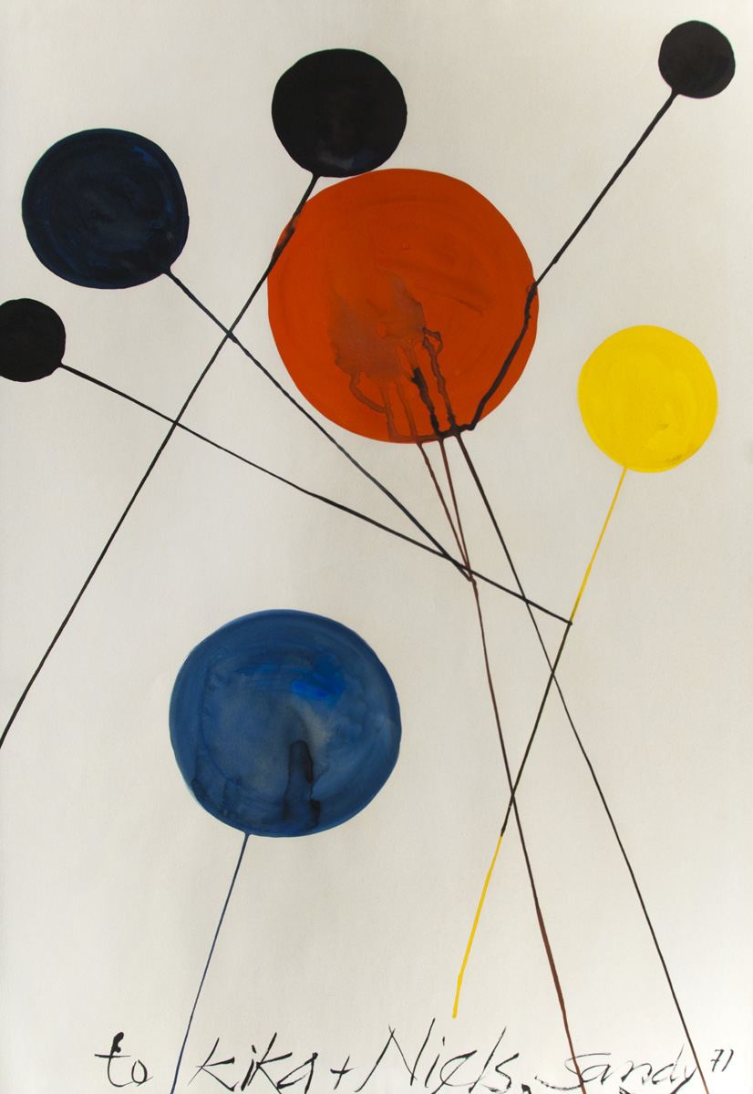 Les Ballons, 197, Gouache on paper, 29 x 43 in, signed