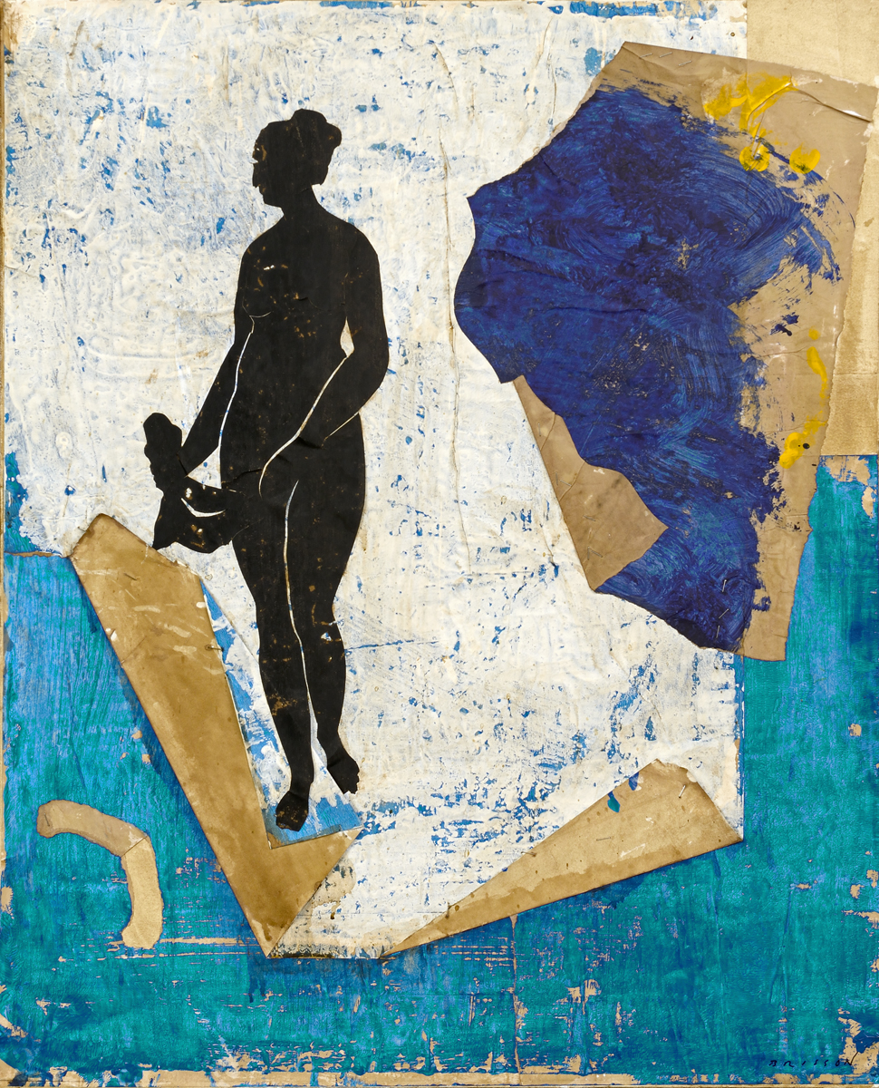 Belle et bleue I, mixed media on canvas, 28 x 23 in (73 x 60 cm) 2016