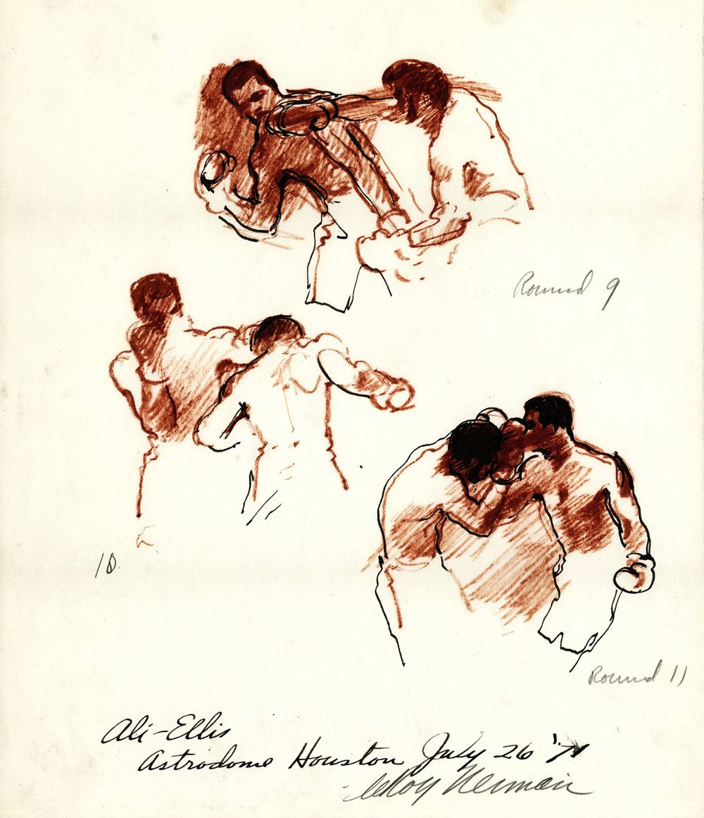 Ali vs Ellis, mixed media on paper, 12.5 x 14.5 in, 1971