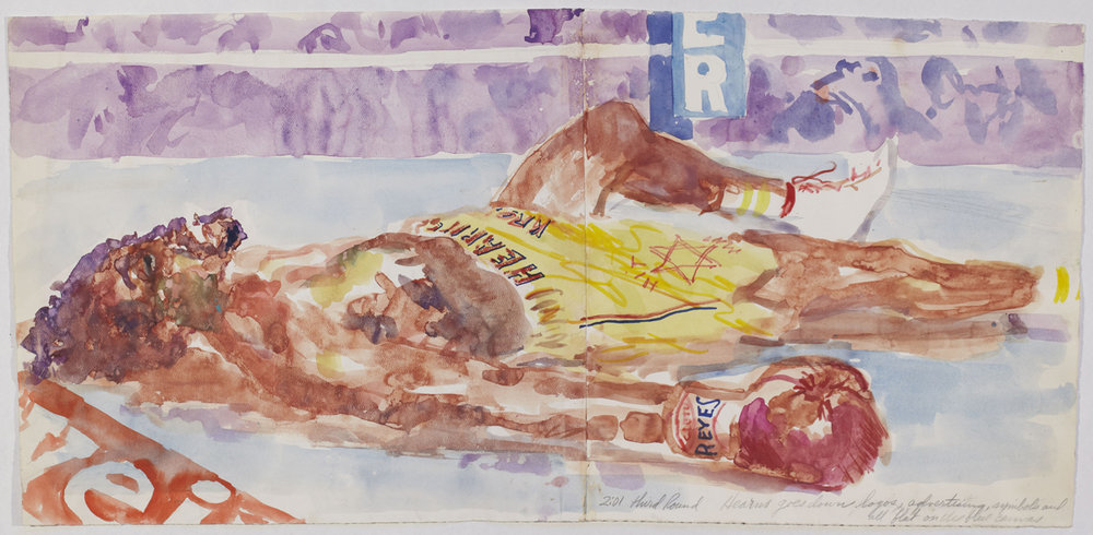 Hearns goes down in the 3rd, mixed media on paper, 13.5 x 28.5 in
