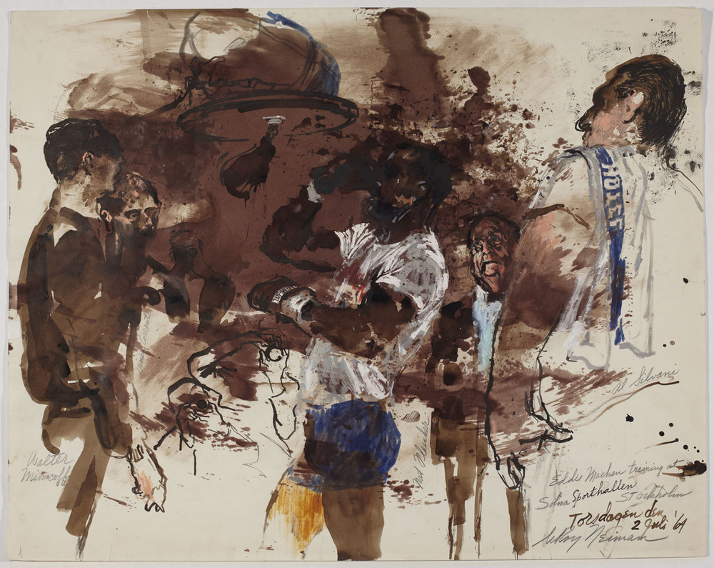 Eddie Machen training at Solna Sporthallen in Stockholm, mixed media on paper, 22.5 x 28.5 in, 1964