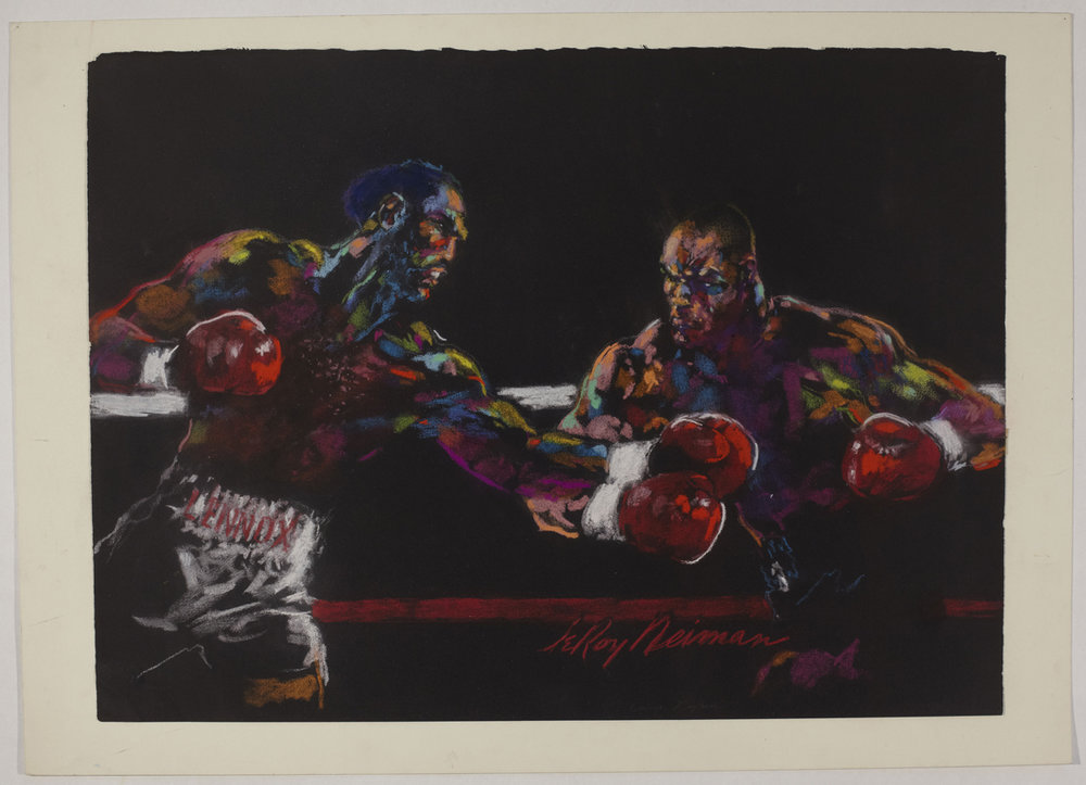 Lennox Lewis vs Mike Tyson, mixed media on paper, 22 X 30 in, 2002