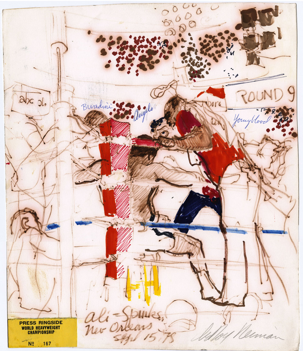 Ali vs Spinks in New Orleans, mixed media on paper, 14.75 x 12.5 in, 1978