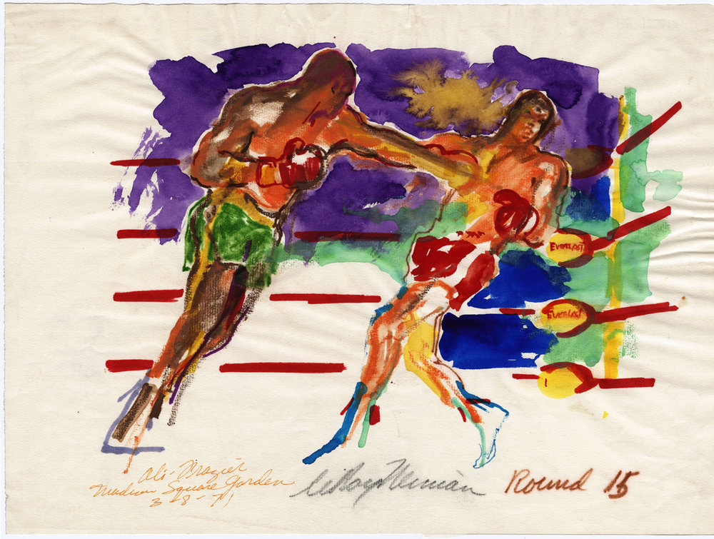 Ali vs Frazier Round 15, Madison Square Garden, mixed media on paper, 11.75 x 16 in, 1971