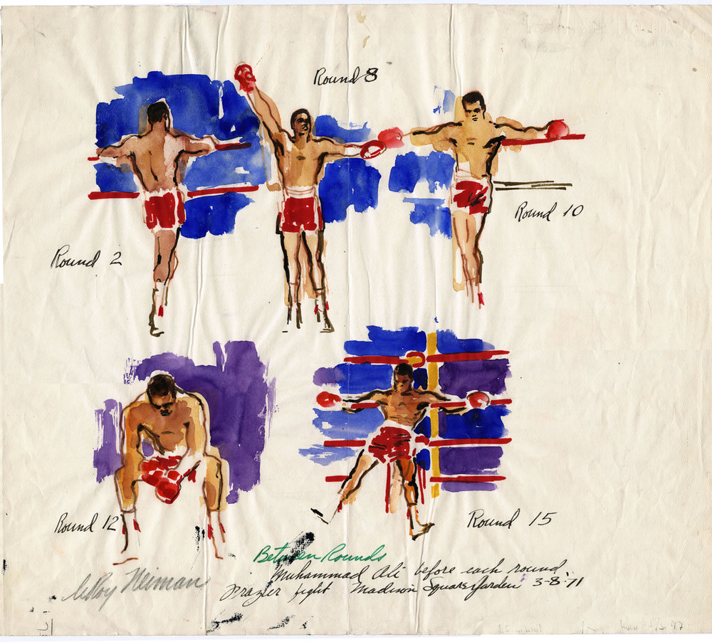 Ali Between Rounds, mixed media on paper, 18 x 20.5 in,  1971
