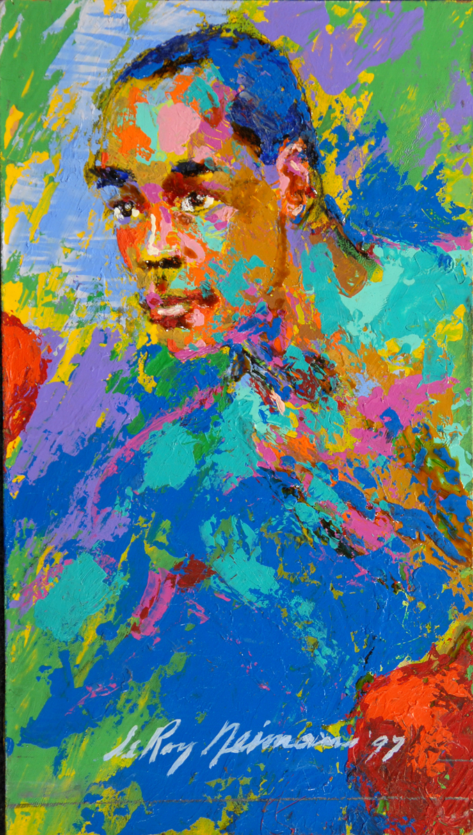 Sugar Ray Leonard, acrylic & enamel on board, 10.5 x 6 in, 1997
