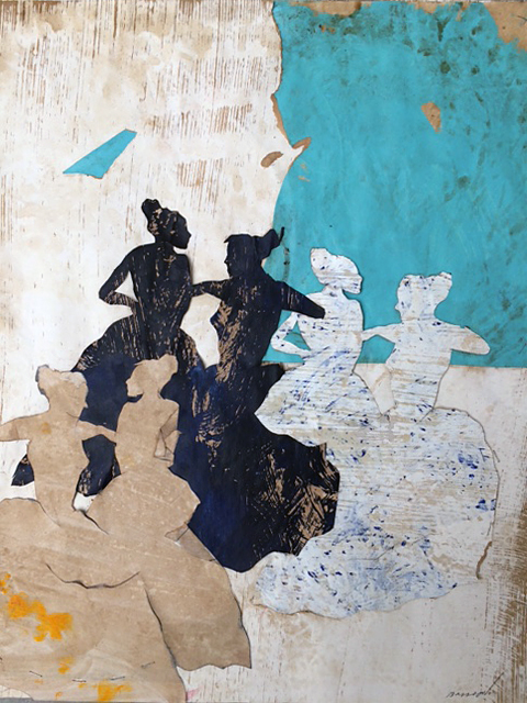 Belle journée 3, mixed media on paper, 19.5 x 16 in (50 x 40 cm), 2016