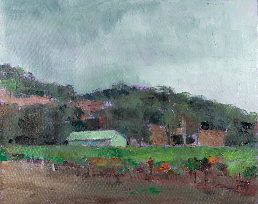 Terre Verte Landscape, Oil on Canvas, 16 x 20 in (36 x 45 cm), 2015