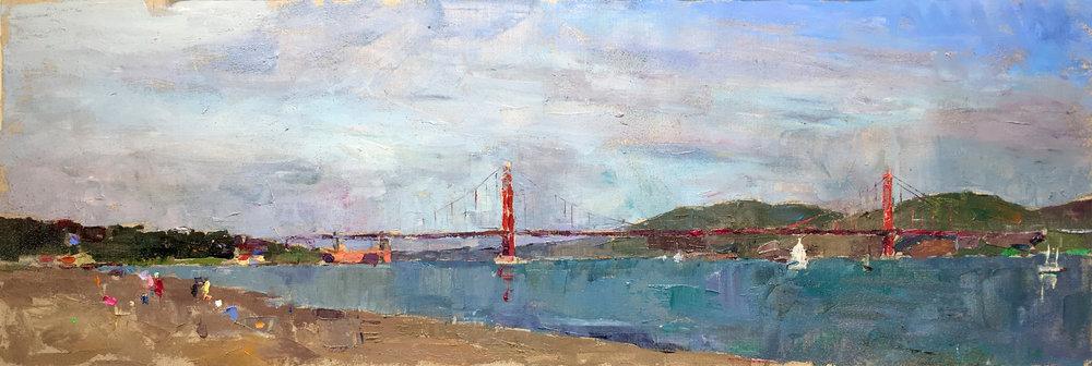 Golden Gate Bridge & Beach, Oil on Canvas, 14 x 41 in (31 x 92 cm), 2016