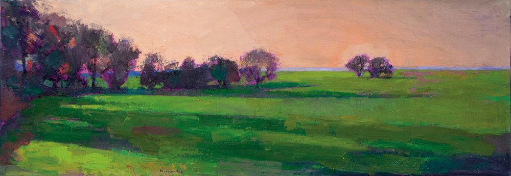 Evening Shadows  (CA), Oil on Canvas, 14 x 40 in (31 x 90 cm), 2016