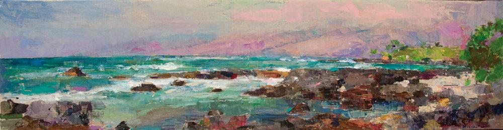 Near Hapuna (Hawaii), Oil on Canvas, 13 x 50 in (29 x 112 cm), 2016