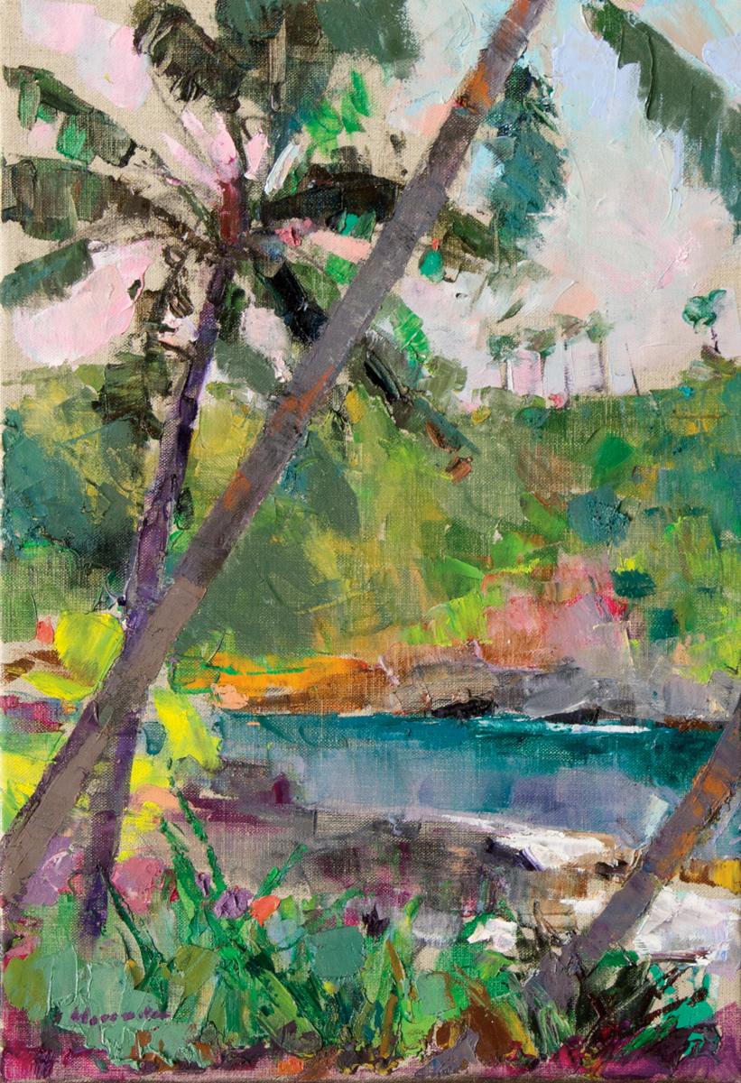 Botanical Gardens, Hilo, Oil on Canvas, 19 x 13 in (43 x 29 cm), 2016