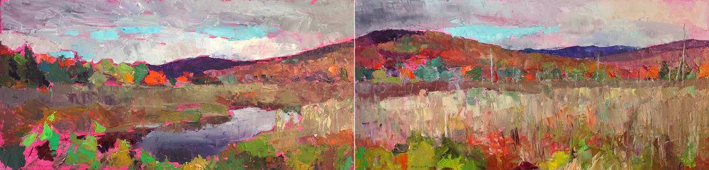 Vermont Wetlands (Diptych), Oil on Canvas, 12 x 48 in (27 x 108 cm), 2016