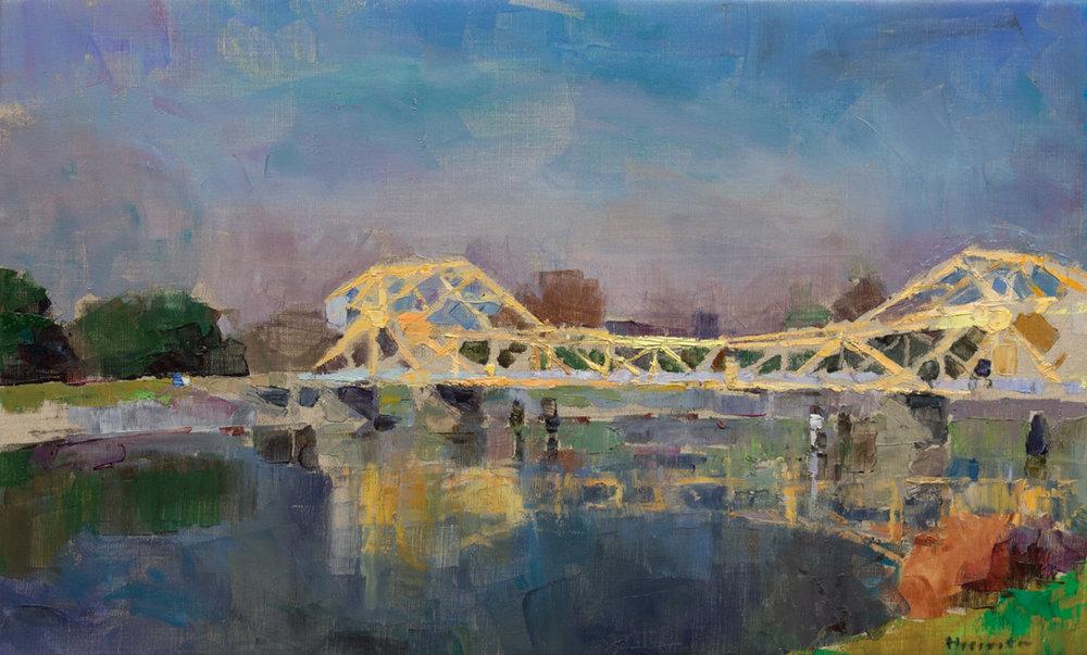 Isleton Drawbridge Study, Oil on Canvas, 16 x 27 in (36 x 60 cm), 2016