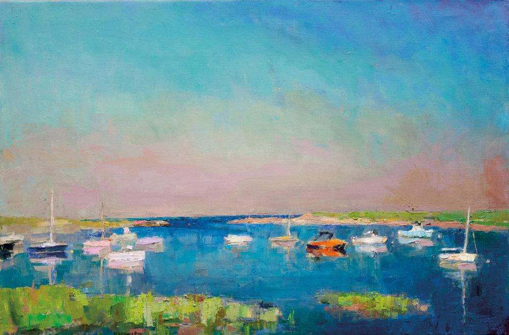 SOLD Pamet Harbor, Oil on Canvas, 24 x 36 in (54 x 81 cm), 2016
