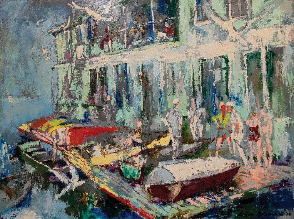 Belmont Harbor, Acrylic & enamel on board, 36 x 48 in, 1955