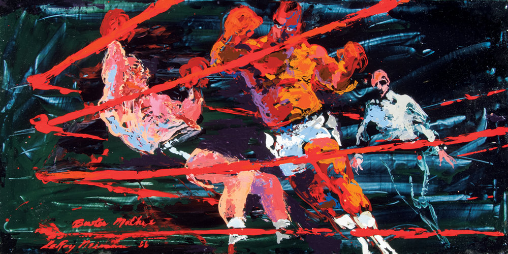 Boxing Match Buster Mathis, Acrylic & enamel on board, 24 x 30 in, 1966