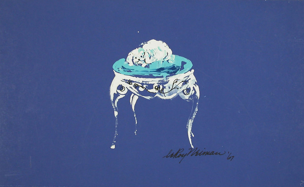 Table Dog, Acrylic on Paper, 10.75 x 18 in, 1967