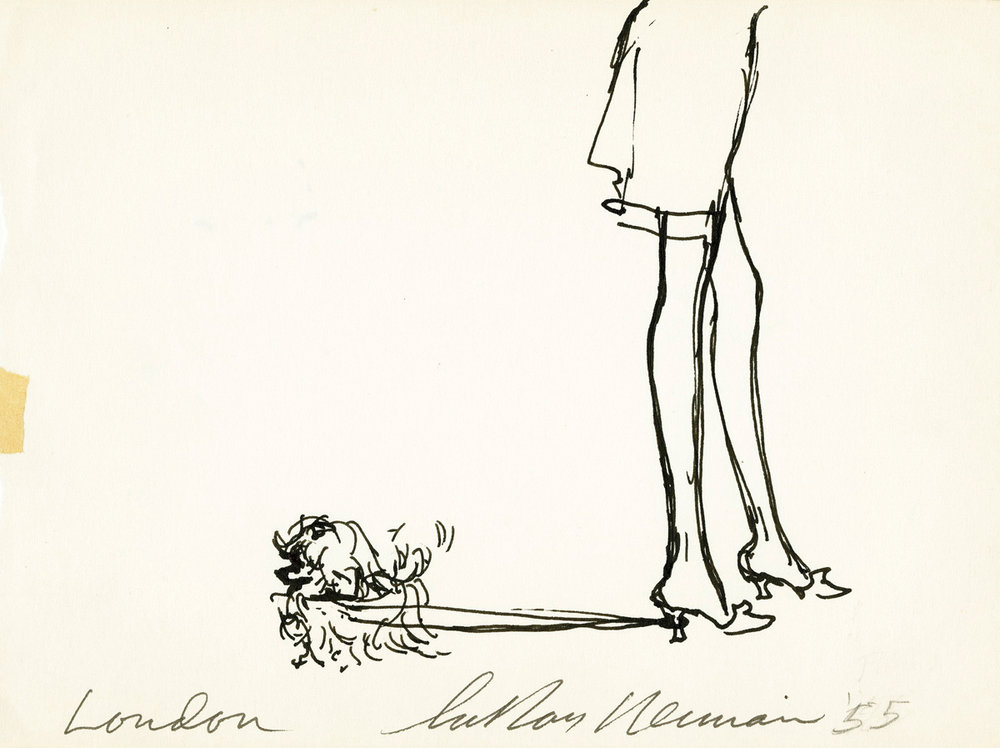 Dog Walking Her Owner in London, Ink on Paper, 5 x 6.75 in, 1955