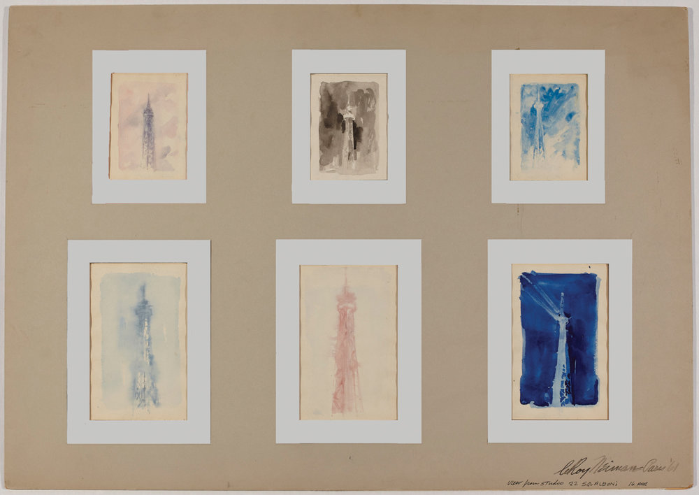 , View from my studio in Paris, Eiffel Towers, Mixed Media on Paper, 21 x 30 in, 1961