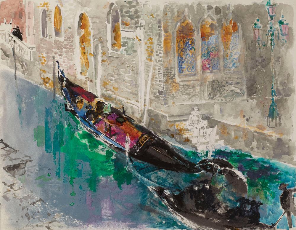 Venetian Waterway, Mixed Media on Paper, 20.25 X 26 in, 1966