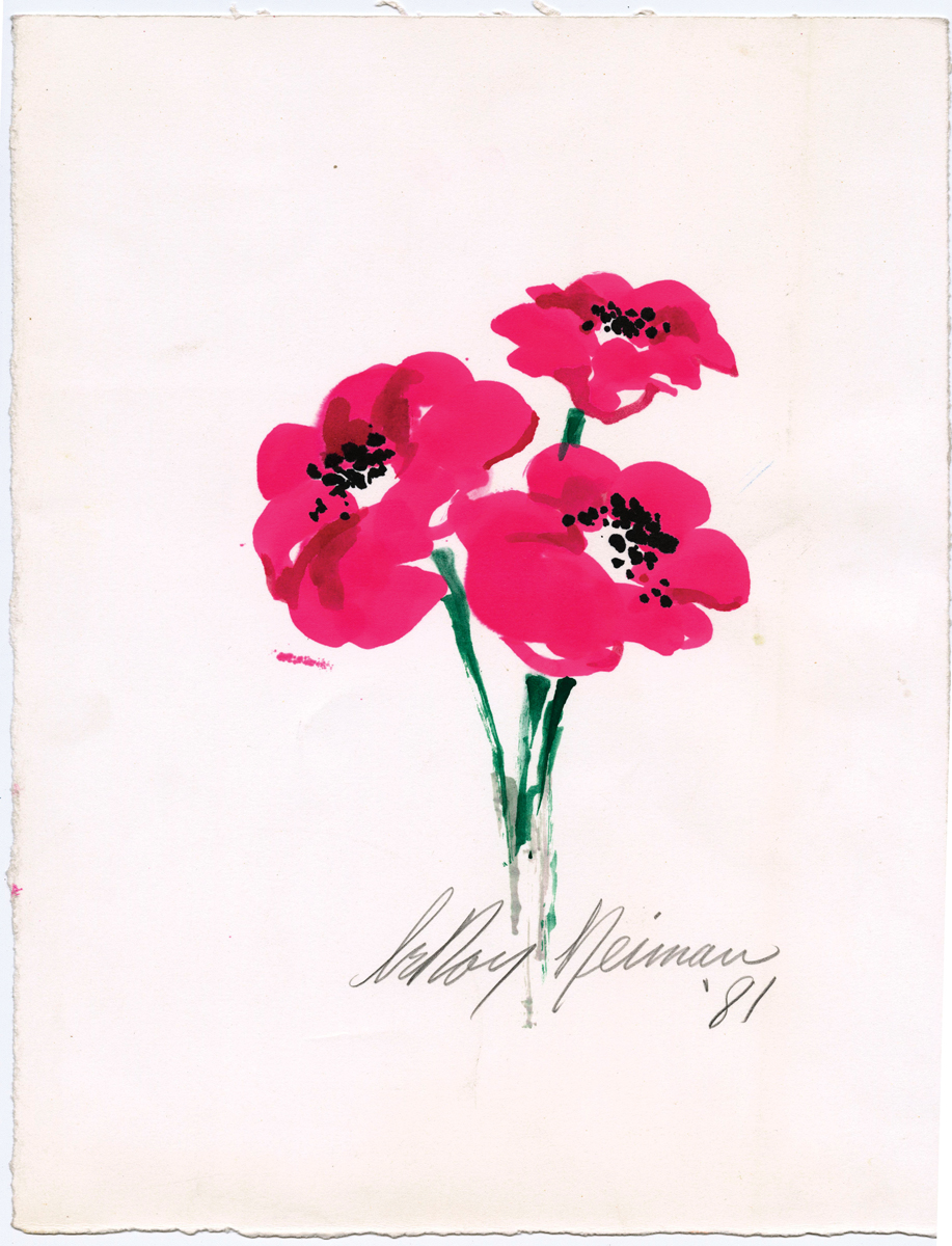 Pink Poppies, Mixed Media on Paper, 13.75 x 10.75 in, 1981