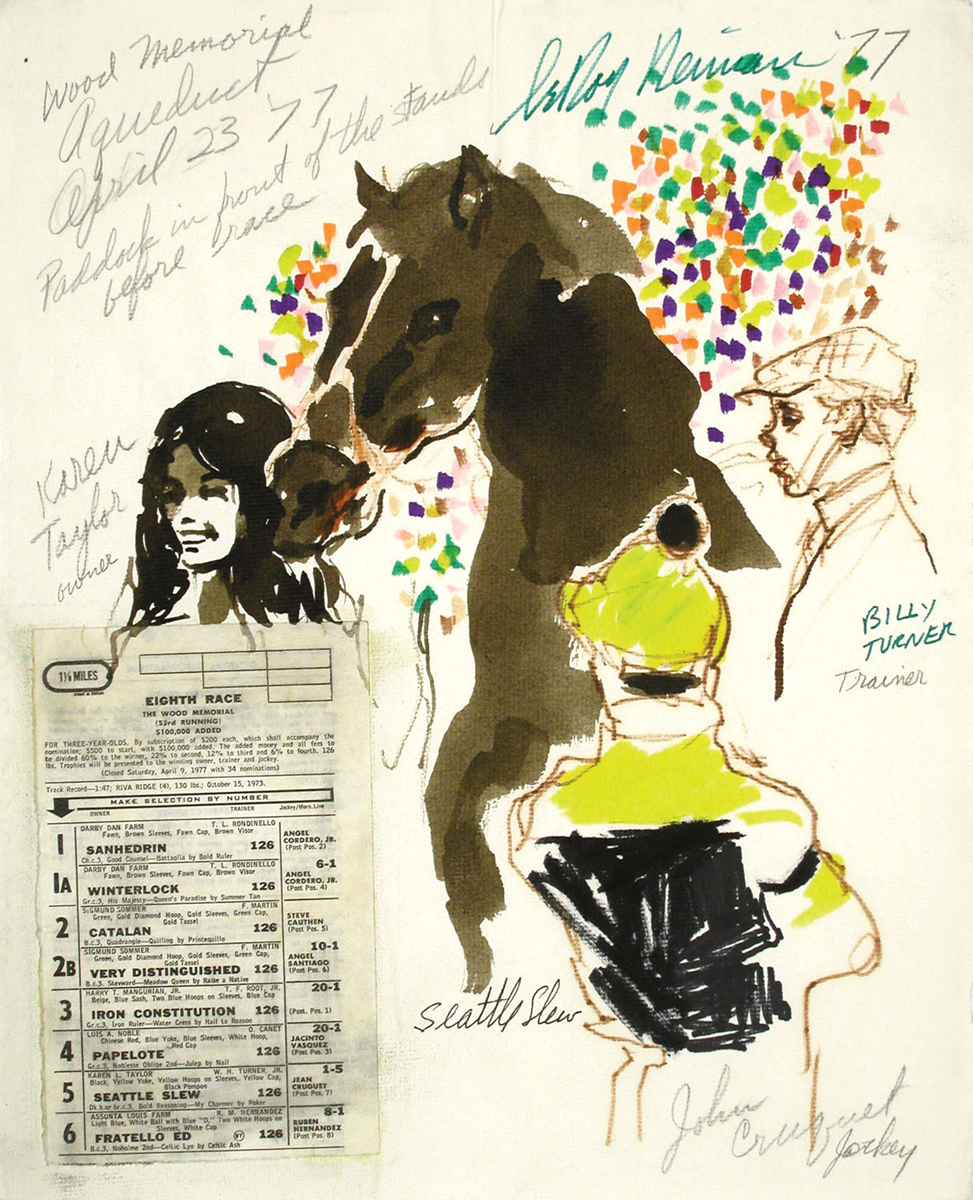 Seattle Slew with Owner, Trainer and Jockey, Mixed Media on Paper, 14.75 x 11.75 in,  1977