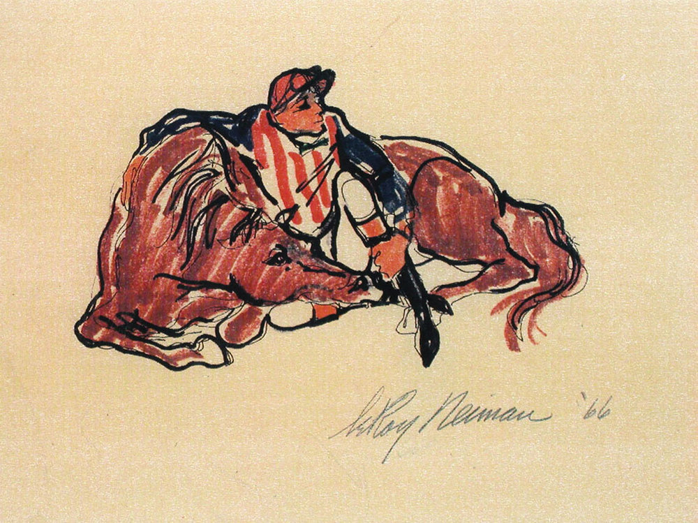 Jockey and Horse at Rest, Mixed Media on Paper, 12 X 16.75 in, 1966