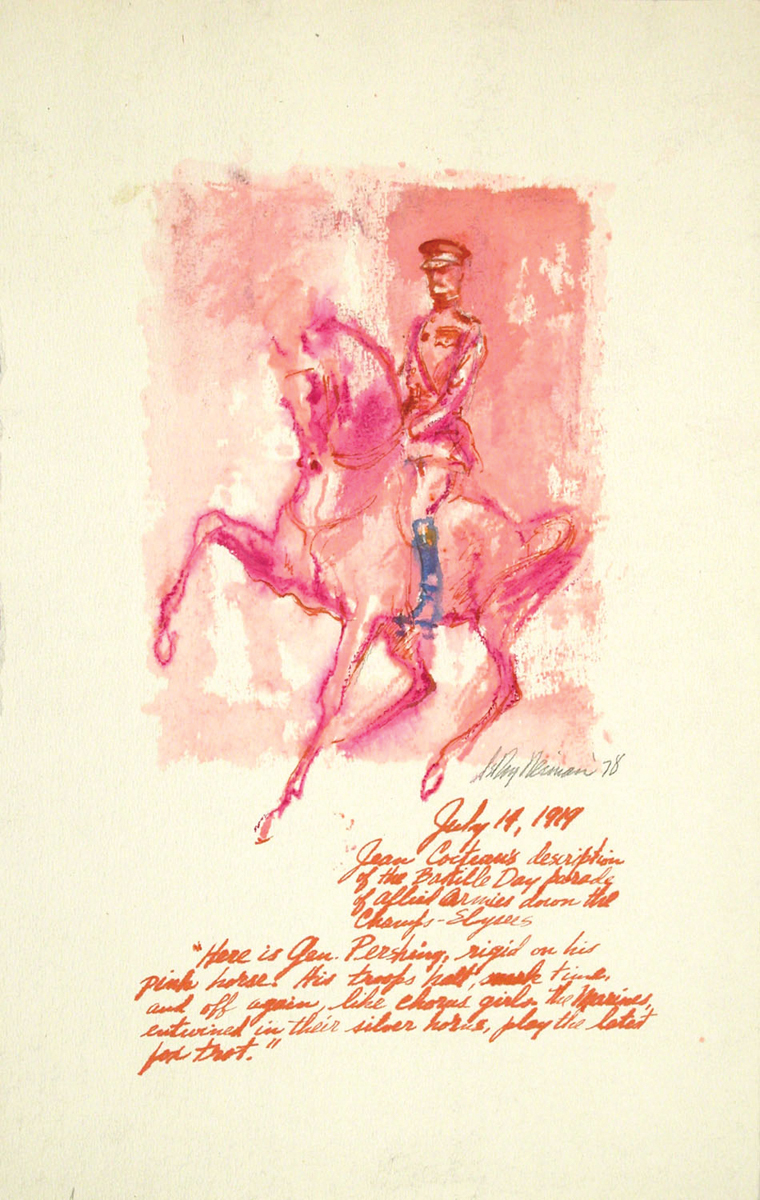 SOLD General Pershing, Mixed Media on Paper, 17 x 11 in, 1978
