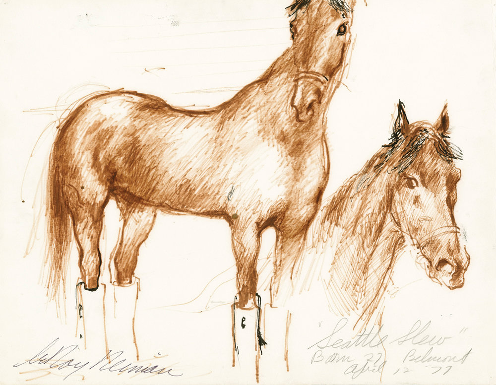 Seattle Slew at Belmont, Barn 27, Mixed Media on Paper, 11.5 X 15 in, 1977