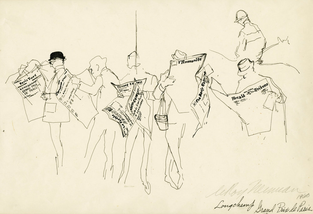 SOLD Newspaper Readers at Longchamp, Grand Prix de Paris, Ink on Paper, 9 x 13 in, 1960