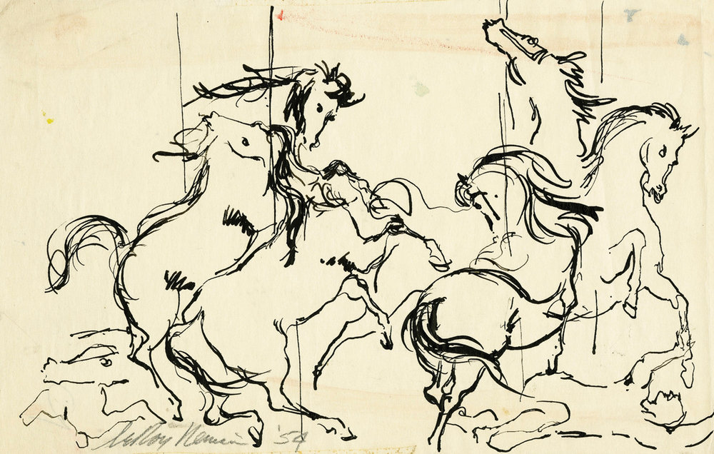 SOLD Carousel Horses, Pen on paper, 5 X 7.75 in, 1954