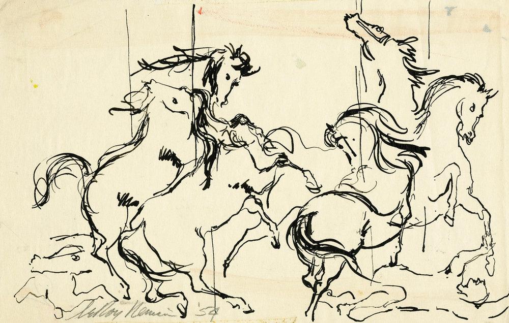 Carousel Horses, Pen on paper, 5 X 7.75 in, 1954