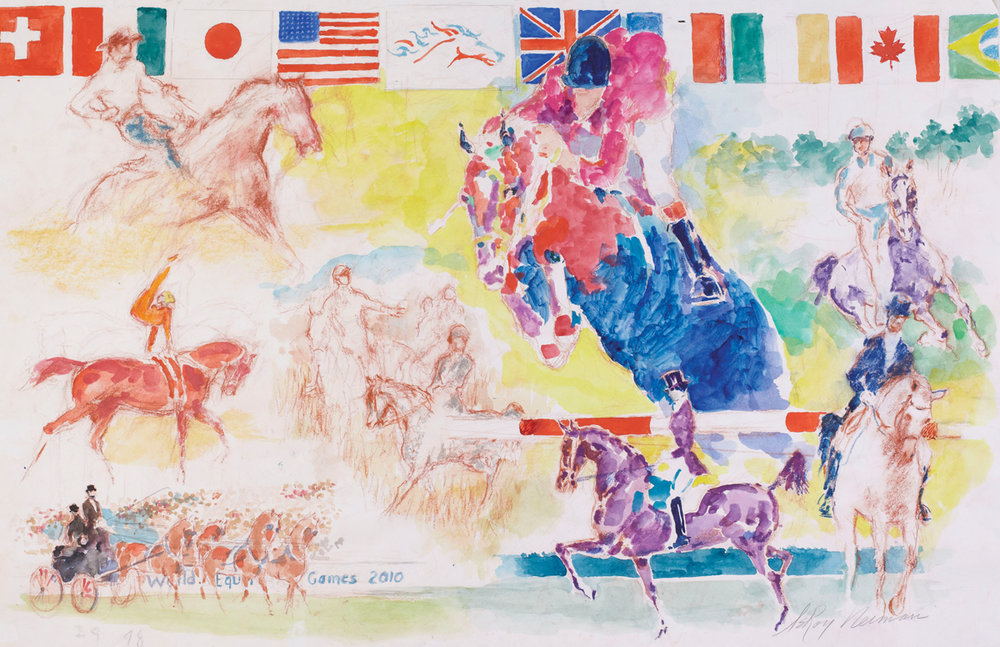 World Equestrian Games, Sketch, Mixed Media on Paper, 23 X 35 in, 2010